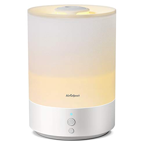 Top Filling Humidifiers for Bedroom, AirExpect 2.5L Ultrasonic Humidifiers for Home and Office, Quiet Baby Humidifier & Diffuser with Cool Mist, Auto-Off, aromatherapy, and Night Light