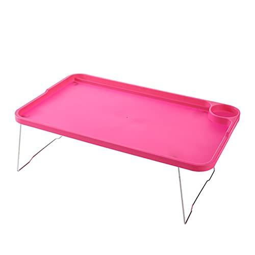 KENSG Tabla portátil Sofá Cama Mesa de Bandeja con Patas Plegables Portátil Bandeja de Cama de Desayuno para Comer Estudiar Escritorios de portátiles Barato Mobiliario (Color : Hot Pink)