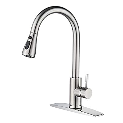 FORIOUS Kitchen Faucet with Pull Down Sprayer Brushed Nickel, High Arc Single Handle Kitchen Sink Faucet with Deck Plate, Commercial Modern rv Stainless Steel Kitchen Faucets, Grifos De Cocina from FORIOUS