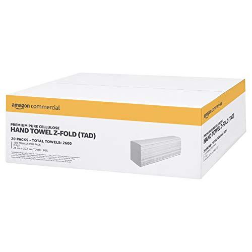 AmazonCommercial – Papierhandtücher, Z-Falz, hochwertig, reine Zellulose, 2-lagig, Packung mit 20 Stück, 2.600 Blatt