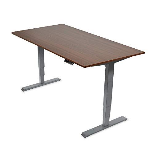 Ergotopia Elektrisch höhenverstellbarer Schreibtisch 5 Jahre Garantie | Ergonomischer Steh-Sitz Tisch mit Memory Funktion | Beugt Rückenschmerzen vor & Macht produktiver (120 x 80 cm, Nussbaum)