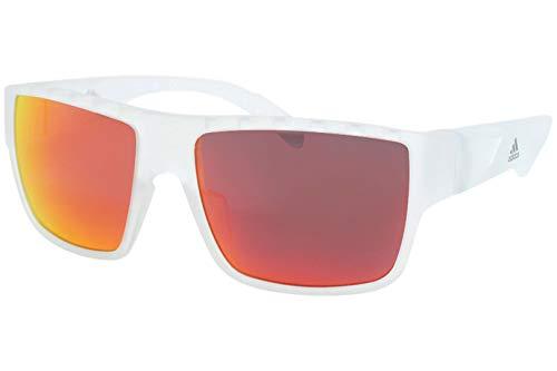 Adidas SP0006 26G Sunglasses Men's Crystal/Orange Mirror Lenses Rectangular 57mm