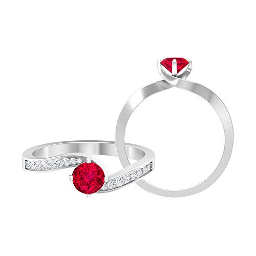 Anillo solitario de rubí de 0,65 quilates, 0.15 quilates, anillo de diamante HI-SI, oro de dos tonos, anillo de compromiso (rubí redondo de 5 mm), 14K Oro blanco, Size:EU 48