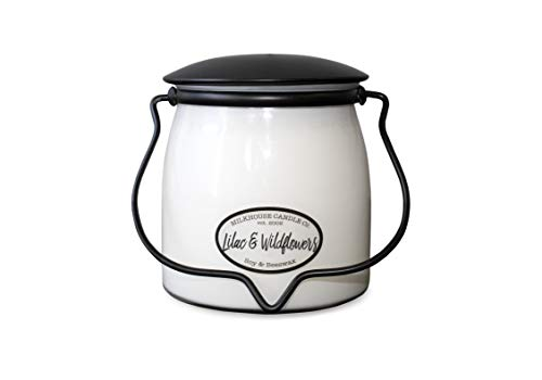 Milkhouse Candle Company, Creamery Scented Soy Candle: Butter Jar Candle, Lilac and Wildflowers, 16-Ounce