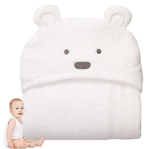 JPYH Kapuzenbadetuch Für Babys und Kleinkinder, Neugeborene Jungen Bademantel Mit Ohren, Bad Wrap Decke Soft Fleece Poncho, 100x100cm, Farbe Weiß