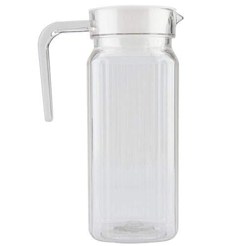 Jarra de acrílico con tapa y asa, botella de jugo a rayas acanaladas Cristalería Vaso de agua Dispensador de agua helada para uso doméstico(800ml)