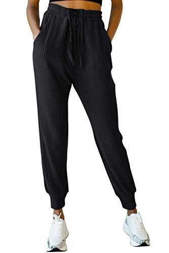 EVELIFE Ropa Deportivos Mujer Pantalones De Chándal con Bolsillo Chándal Suaves y Ligeros Pantalones De Jogger De Cintura Elástica con Cordón De Algodón(Negro_M)