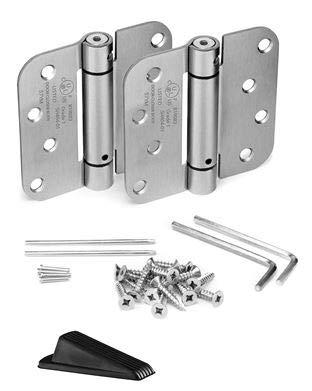 KS Hardware - Bisagra de muelle de muelle con esquinas de radio de 5/8 pulgadas, níquel satinado, 2 unidades, incluye cuña de goma para puerta