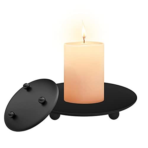 Navani Kerzenhalter,2 Stück Kerzenständer Schwarz , Rund Retro Kerzenständer Schwarz Metall
