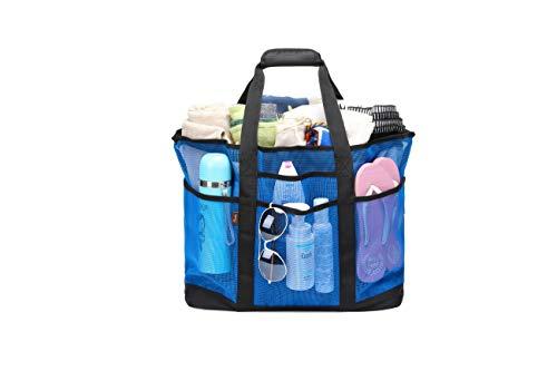 Acmebon Strapazierfähige, großmaschige Strandtasche für Frauen, Tragetasche, Sporttasche mit 9 Fächern Blau