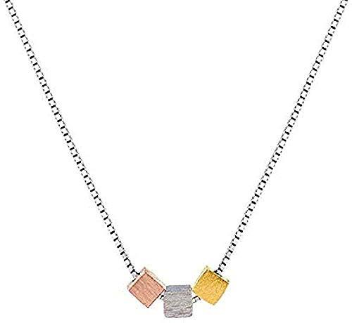 ZGYFJCH Co.,ltd Collar Collar de Moda Collar Cuadrado Cepillado Cadena de clavícula Femenina Colgante Collar niñas niños Regalo