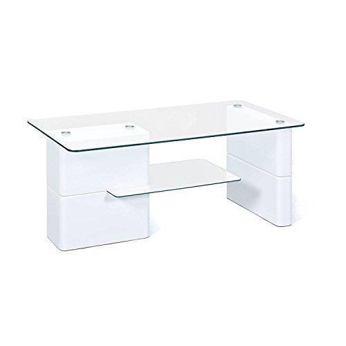 Inter Link Couchtisch Glas MDF weiß Moderner Tisch Wohnzimmer