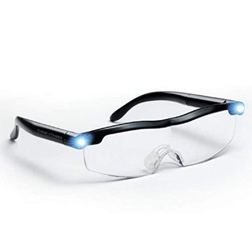 XJZHANG Mighty Sight LED Lupenbrille, Vision Lupenbrillen, Lupe Stirnband Brille mit Licht 160% ige Vergrößerung, großartige Brillen für Leser, Frauen, Männer, Kinder