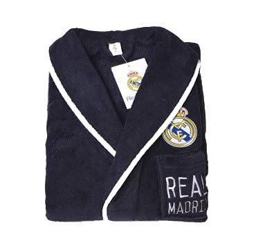 10XDIEZ Bata Real Madrid 307m Azul Marino - Medidas Albornoces/Batas Adulto - XL (Super Grande)