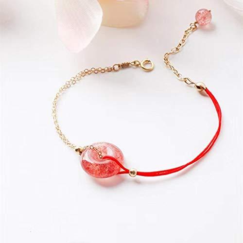 Pulsera de cristal de fresa para mujer, brazalete rojo con cierre seguro, fuerte amuleto, AttractMoney Luck Warding-Off Evil Spirits, simple y dulce talismán