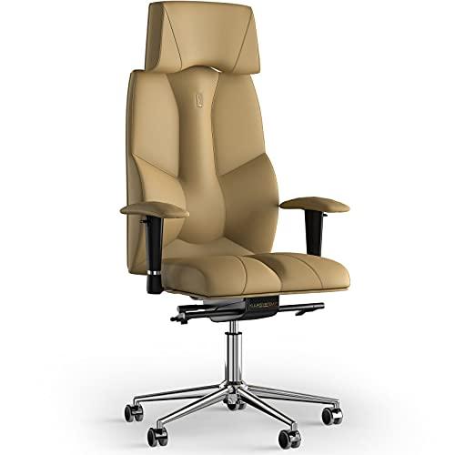 KULIK SYSTEM Silla de escritorio para computadora con soporte ergonómico patentado y cojín de asiento | Silla de oficina ergonómica | Silla de ordenador para el hogar – Piel sintética (Beige)