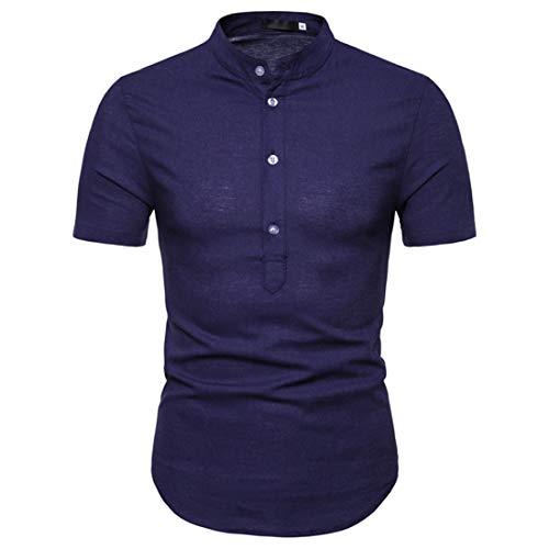 Henry Camisa Hombre Slim Fit Tapeta con Botones Cuello Alto Camisa De Manga Corta De Color Sólido Tendencia Moderna Camisa Casual Urbana Dobladillo Curvo Moda Hombre Camisa D-Blue M