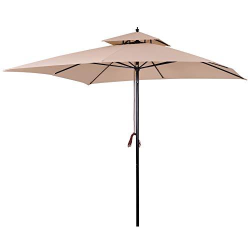 Outsunny Sombrilla Parasol de Acero Grande con Cubierta a Dos Niveles para Jardín Patio Sistema de Polea Mástil Desmonta en Dos Partes Fácil para Guardar y Transportar 300x300x297cm Beige