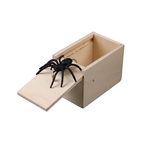 Ba30DEllylelly Broma de madera caja de caja de miedo de araña broma realista divertido sorpresa mordaza juguete juguetes complicados para Halloween