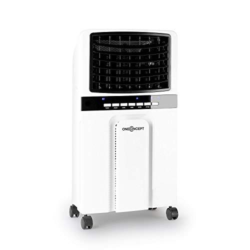 oneConcept Baltic - 3-in-1: Luftkühler, Ventilator, Luftbefeuchter, 65 Watt, Luftumwälzung: 360 m³/h, Tank: 6 Liter, 2 Kühlakkus, horizontale Oszillation, Timer, leise, weiß-schwarz
