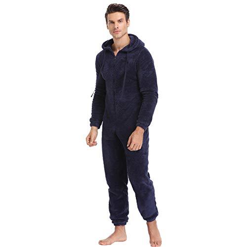 Hommes en Peluche Teddy Polaire Pyjamas Hiver Chaud Pyjamas Combinaisons Combinaisons Couleur Unie Vêtements De Nuit Kigurumi Ensembles De Pyjama À Capuche pour Hommes Adultes