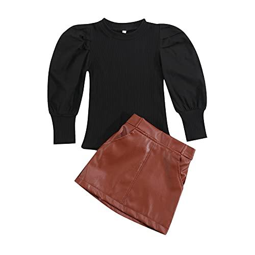Conjunto de falda de cuero para bebé y niña, de otoño, manga abullonada, camisas acanaladas de punto de la PU A-Line Mini faldas