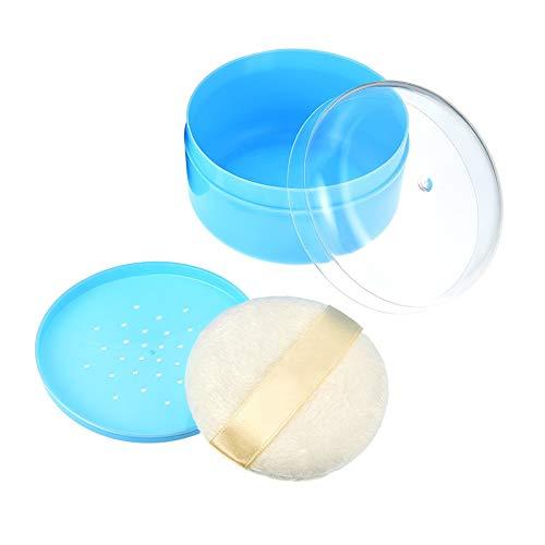 1 UNIDS Azul Cuerpo Vacío Contenedor de Polvo de Talco Dispensador Estuche Frasco con Tamiz y Soplos de Polvo Maquillaje Soporte de Caja de Polvo Suelto para Uso en el Hogar y Viajes