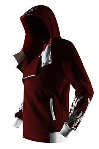 Men's Hoodies Long Sleeve Zipper Camouflage Jacket Sweatshirt Zip Hoodie in Steel Grey, red, XX-Large