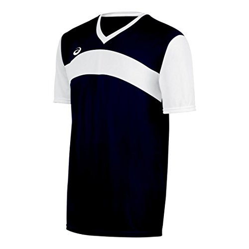 ASICS Men's Relaxed Fit Volley Jersey, Navy/White, Large
