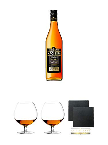 Macieira Royal Brandy Five Star Oeiras 1,0 Liter + Cognacglas/Schwenker Stölzle 1 Stück - 103/18 + Cognacglas/Schwenker Stölzle 1 Stück - 103/18 + Schiefer Glasuntersetzer eckig ca. 9,5 cm Ø 2 Stück