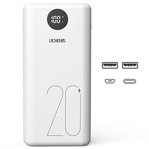 licheers 20000mAh Externer Akku, hohe Kapazität Powerbank mit 2 USB Ausgängen und LCD Anzeige für iPhone, iPad, Samsung Galaxy und viele mehr (Weiß)