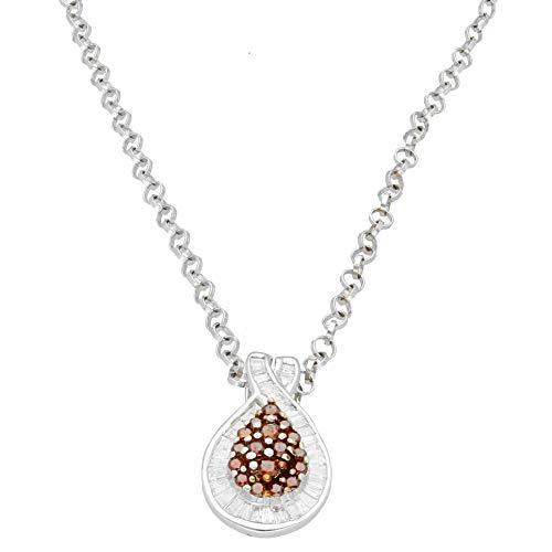 Womens Hanger Charm | Nieuwe 9Carat Wit Goud 0.50ct Cognac & White Diamond Hanger met 18