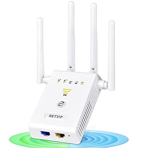 WLAN Verstaerker Repeater 1200 Mbit/s Internet Netz Booster Dualband 5GHz&2.4GHz WLAN Range Extender Erweitern Sie den Reichweite, WLAN Verstärker mit Ethernet Port, Kompatibel zu Allen WLAN Geräten