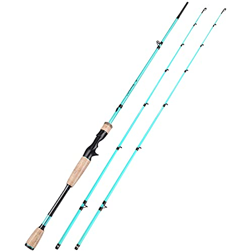 Sougayilang Fishing Pole, 30 Ton Carbon Fiber Sensitive 2 Pcs Baitcasting Rod & Spinning Rod for Freshwater or Saltwater, Tournament Quality Fishing Rod with 2 Tips for Bass-Blue-6.9FT-Casting