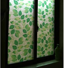 LMKJ Hoja Verde estática cálida Resistente al Calor Puerta corredera vidriera película de privacidad película de decoración del hogar A57 50x100cm