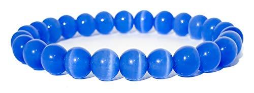 Pulsera elástica para hombre y mujer, con piedras preciosas naturales de 8 mm, para reiki, idea de regalo de cumpleaños, original difusor de energía para curar el equilibrio Occhio Di Gatto Blu
