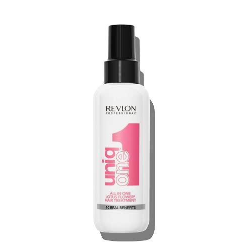 Revlon Professional UniqOne All in One Lotus Hair Treatment Spray senza Risciacquo Trattamento Capelli Profumo Fiori di Loto, 150 ml