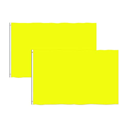 Consummate Solid Yellow Flag 3x5 Foot Plain Yellow Flags Banner Polyester with Brass Grommets,2 Pack