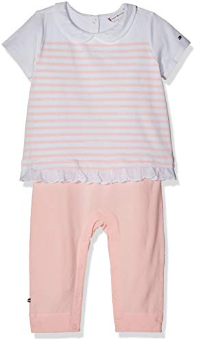 Tommy Hilfiger Unisex Baby Combi Stripe Coverall S/S Strampler, Rosa (Strawberry Cream/Bright White 608), 92 (Herstellergröße: 80)