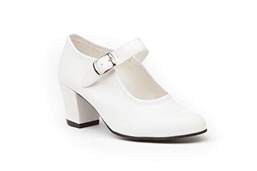 ANGELITOS Zapatos Flamenca Para Niña y Mujer, Mod. 302, Calzado Made In Spain (38, Blanco)