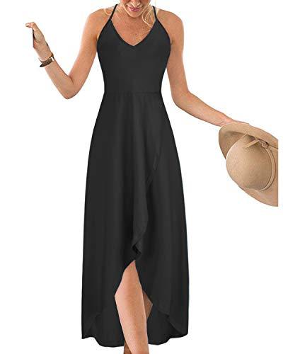 KILIG Women's V Neck Sleeveless Casual Summer Sundresses Asymmetrical Patchwork Floral Maxi Dresses(Black,Large)