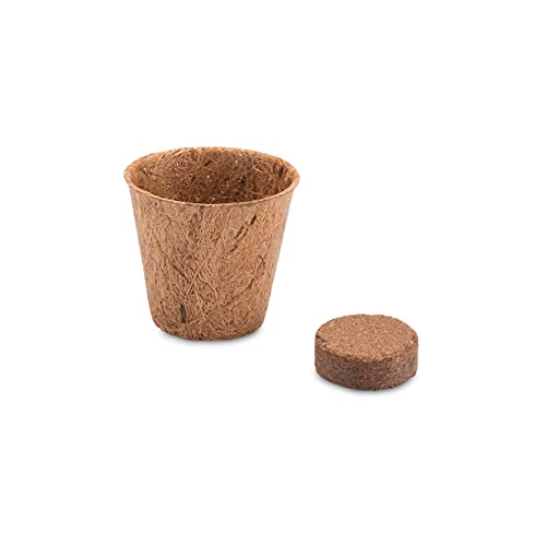 10x Kokos Anzuchttöpfe & Quelltabletten torffrei für eine erfolgreiche Anzucht - ideal für Stecklinge & Samen - verschiedenen Größen (0,05 L - Ø 6 cm)