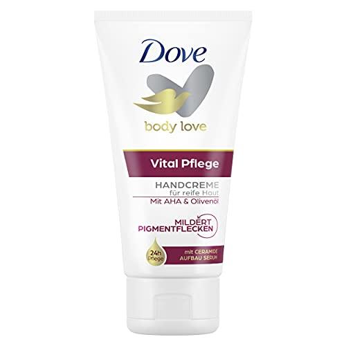 Dove Handcreme Vital mit PflegeDUO (intensive Feuchtigkeit und Tiefenpflege) speziell für reife Haut: Mildert Altersflecken und regt die Zellerneuerung an, 1 Stück (1 x 75 ml )