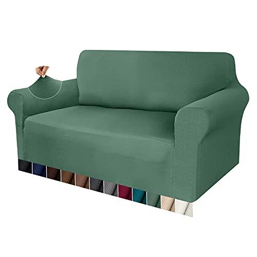 Granbest Sofabezug, dick, 1 Stück, dehnbar, 2-Sitzer, rutschfest, für Sofa, Möbelschutz, Stoff Spandex Jacquard (2-Sitzer, Matcha Green)