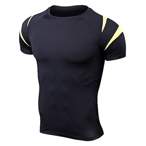 JiaMeng Casual Remera de Deporte Slim Camisas Tallas Grandes Fitness Mangas Cortas...