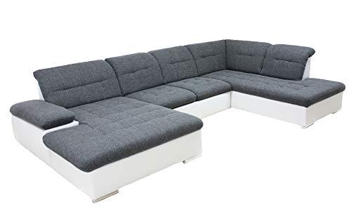 ARBD Collection Wohnlandschaft Rico - Schlaffunktion und Bettkasten - versch. Farben (Kunstleder weiß - Struktur grau, Ottomane rechts)