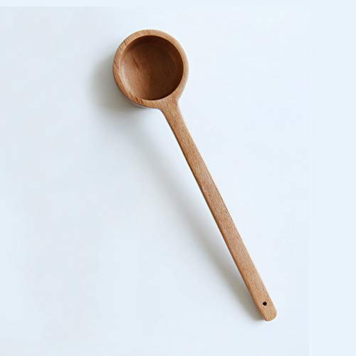 Long Handle Scoop, BEST HOUSE Ko rean Style10.6 inch Wooden Coffee Ground Spoon, Measuring for Ground Beans or tea, Soup Cooking Mixing Stirrer Kitchen Tools Utensils, 1 Wooden Tea Scoop(10.62 inches)