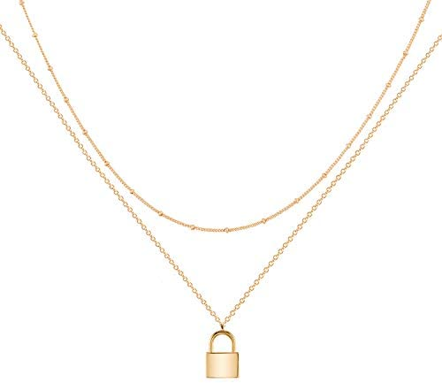 Mevecco Gold Dainty Layer Lock Necklace 18K Gold Plated Cute Delicate Tiny Layered Bead Chain product image