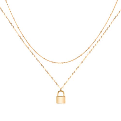 Gold Dainty Layer Lock Necklace,18K Gold Plated Cute Delicate Tiny Layered Bead Chain Necklace,Trendy Minimalist Necklace for Women