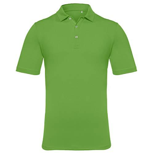 EAGEGOF Men's Regular Fit Golf Polo Shirt Short Sleeve Stretch Quick Dry Performance Polo(Dark Green, 2XL)
